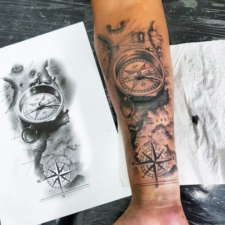 tatuagem de bússola